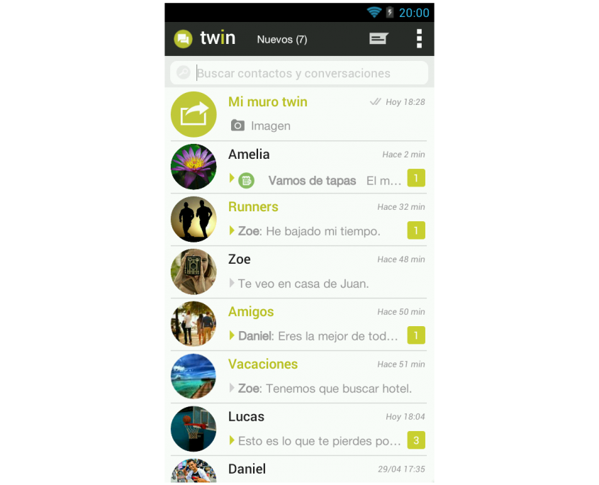 Bandeja mensajes app TWIN