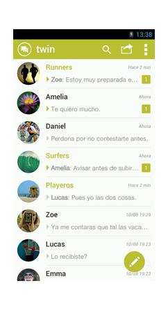 Bandeja mensajes TWIN app.
